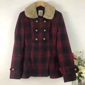 Elevenses Plaid Peplum Wool Blend Pea Coat